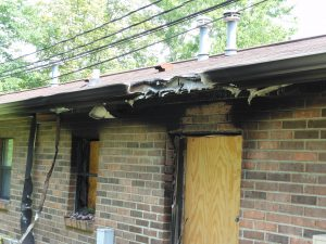 roof damage to home due to fire