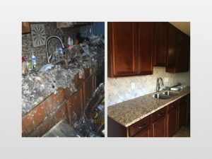 before and after image of fire damage in kitchen