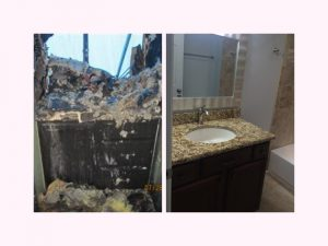 side-by-side photos of a fire damaged bathroom and its brand new appearance after restoration