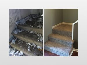 before and after image of fire damage stairwell